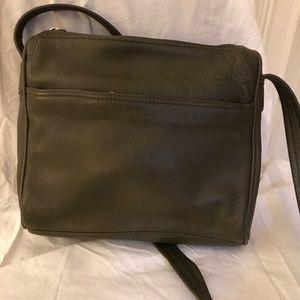 Tignanello Olive Leather Shoulder Bag